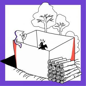Matkailutoimija on laatikossa. Laatikossa on myös lintu. Laatikon ulkopuolella on puita ja tukkeja. Kuvan kehys on violetti.