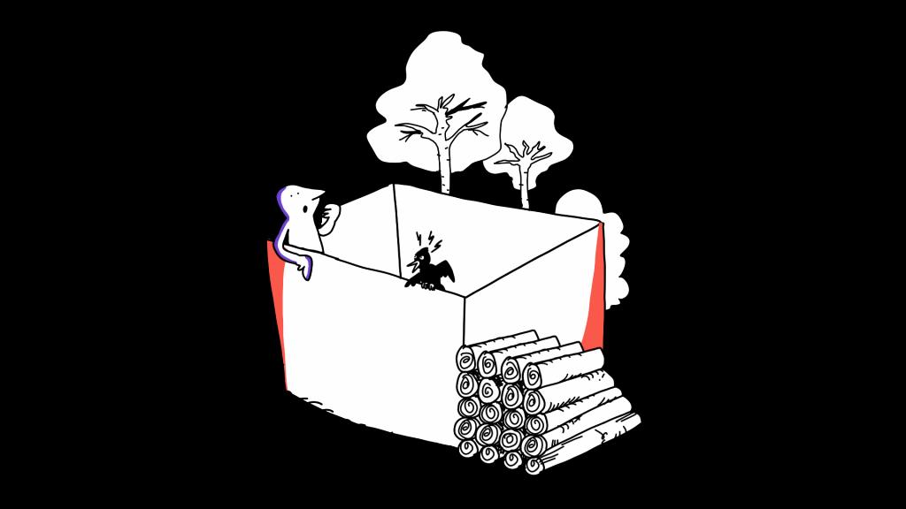 Matkailutoimija istuu laatikossa, lintu on myös laatikossa. Laatikon ulkopuolella puita ja tukkeja.