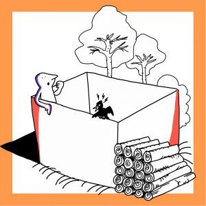Matkailutoimija on laatikossa. Laatikossa on myös lintu. Laatikon ulkopuolella on puita ja tukkeja. Kuvan kehys on keltainen.
