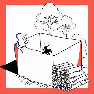 Ekologisten vaikutusten teemaa kuvaava laatikko, jossa mukana luonnon elementtejä