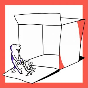 Matkailutoimija kulkee laatikon ohi lapsensa kanssa, joka on rattaissa. Kuvan kehys on oranssi.