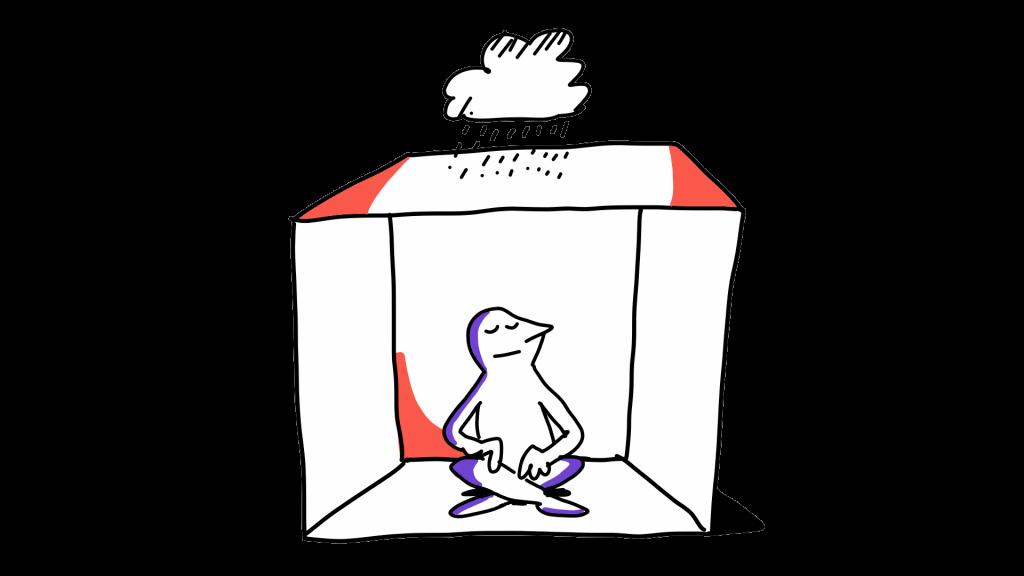 Matkailutoimija istuu laatikon sisällä. Laatikon ulkopuolella on sadepilvi.