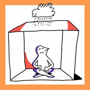 Matkailutoimija istuu laatikon sisällä ja laatikon päällä on sadepilvi. Kuvan kehys on keltainen.