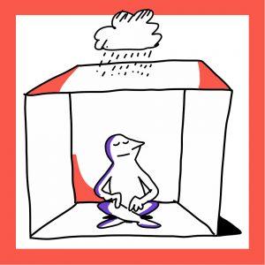 Matkailutoimija istuu laatikon sisällä ja laatikon päällä on sadepilvi. Kuvan kehys on oranssi.