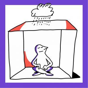 Matkailutoimija istuu laatikon sisällä ja laatikon päällä on sadepilvi. Kuvan kehys on violetti.