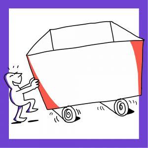 Matkailutoimija pyörittää laatikkoa eteenpäin. Kuvan kehys on violetti.