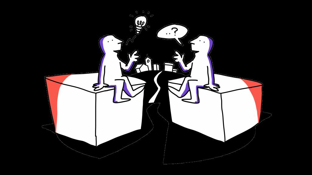 Kaksi matkailutoimijaa istuu laatikoiden päällä ja keskustelee. Taustalla näkyy kaupunki.
