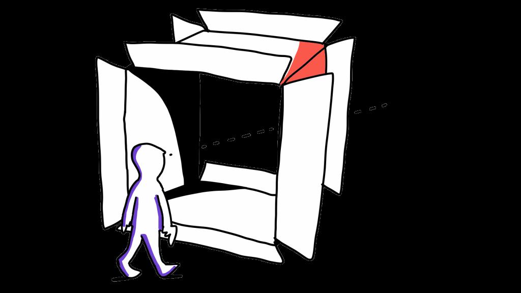 Matkailutoimija katsoo laatikon läpi tulevaisuuteen.