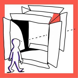 Matkailutoimija katsoo tulevaisuuteen laatikon läpi. Kuvan reunus on oranssi.