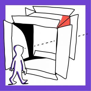 Matkailutoimija katsoo tulevaisuuteen laatikon läpi. Kuvan reunus on violetti.