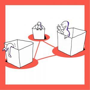 Kolme laatikkoa, joiden sisällä on matkailutoimija. Laatikot on linkitetty toisiinsa. Kuvan kehys on oranssi.