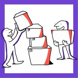 Kaksi matkailutoimijaa rakentaa tornia laatikoista. Kuvan kehys on violetti.