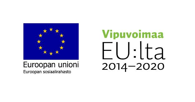 Euroopan sosiaalirahaston logo, Vipuvoimaa EU:lta 2014-2020 logo