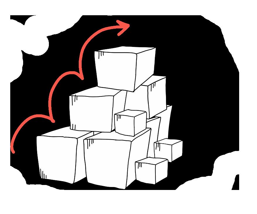 Kuva portaista joka on rakennettu laatikoista, takana vuori. Piirretty nuoli, miten hypellä laatikolta toiselle.