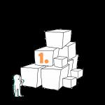 Matkailutoimija on rakentanut portaikon laatikoista. Matkailutoimija on juurella. Kuvassa keltainen numero 1.