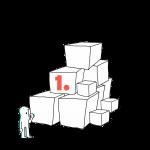 Matkailutoimija on rakentanut portaikon laatikoista. Matkailutoimija on juurella. Kuvassa oranssi numero 1.