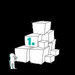 Matkailutoimija on rakentanut portaikon laatikoista. Matkailutoimija on juurella. Kuvassa vihreä numero 1.