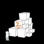 Matkailutoimija on rakentanut portaikon laatikoista. Matkailutoimija on juurella. Kuvassa keltainen numero 2.