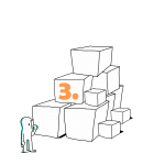 Matkailutoimija on rakentanut portaikon laatikoista. Matkailutoimija on juurella. Kuvassa keltainen numero 3.