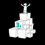 Kuva, jossa matkailutoimija on rakentanut portaikon laatikoista. Matkailutoimija on itse huipulla. Kuvassa on numero vihreä kolme.