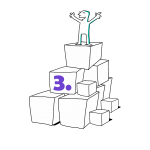 Kuva, jossa matkailutoimija on rakentanut portaikon laatikoista. Matkailutoimija on itse huipulla. Kuvassa numero kolme, joka on violetti (taso 3).