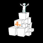 Kuva, jossa matkailutoimija on rakentanut portaikon laatikoista. Matkailutoimija on itse huipulla. Kuvassa keltainen (taso 1) numero neljä.