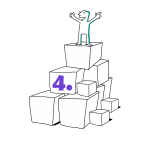 Kuva, jossa matkailutoimija on rakentanut portaikon laatikoista. matkailutoimija on itse huipulla. Kuvassa on violetti numero neljä (taso 3).