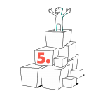 Kuva, jossa matkailutoimija on rakentanut portaikon laatikoista. matkailutoimija on itse huipulla. Kuvassa on oranssi numero viisi (taso 2).