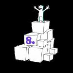Matkailutoimija on rakentanut portaikon laatikoista. Matkailutoimija on huipulla. Kuvassa violetti numero 8.