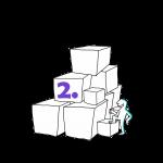 Matkailutoimija on rakentanut portaikon laatikoista. Matkailutoimija on alkamassa kiipeämään. Kuvassa violetti numero 2.
