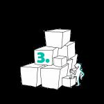 Matkailutoimija on rakentanut portaikon laatikoista. Matkailutoimija on alkamassa kiipeämään. Kuvassa vihreä numero 3.