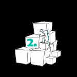 Matkailutoimija on rakentanut portaikon laatikoista. Matkailutoimijakiipeää portaikkoa ylös. Kuvassa vihreä numero kaksi.