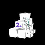 Matkailutoimija on rakentanut portaikon laatikoista. Matkailutoimijakiipeää portaikkoa ylös. Kuvassa violetti numero kaksi.