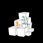 Matkailutoimija on rakentanut portaikon laatikoista. Matkailutoimijakiipeää portaikkoa ylös. Kuvassa keltainen numero kolme.