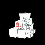 Matkailutoimija on rakentanut portaikon laatikoista. Matkailutoimijakiipeää portaikkoa ylös. Kuvassa violetti oranssi kolme.