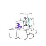 Matkailutoimija on rakentanut portaikon laatikoista. Matkailutoimijakiipeää portaikkoa ylös. Kuvassa violetti numero kolme.