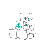Matkailutoimijaon rakentanut portaikon laatikoista. Matkailutoimija kiipeää portaikkoa ylös. Kuvassa vihreä numero neljä.