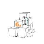 Matkailutoimija on rakentanut portaikon laatikoista. Matkailutoimijakiipeää portaikkoa ylös. Kuvassa keltainen numero kuusi.
