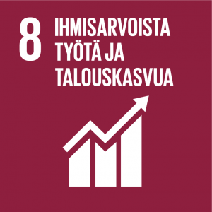 Kestävän kehityksen tavoitteet: 8 ihmisarvoista työtä ja talouskasvua.