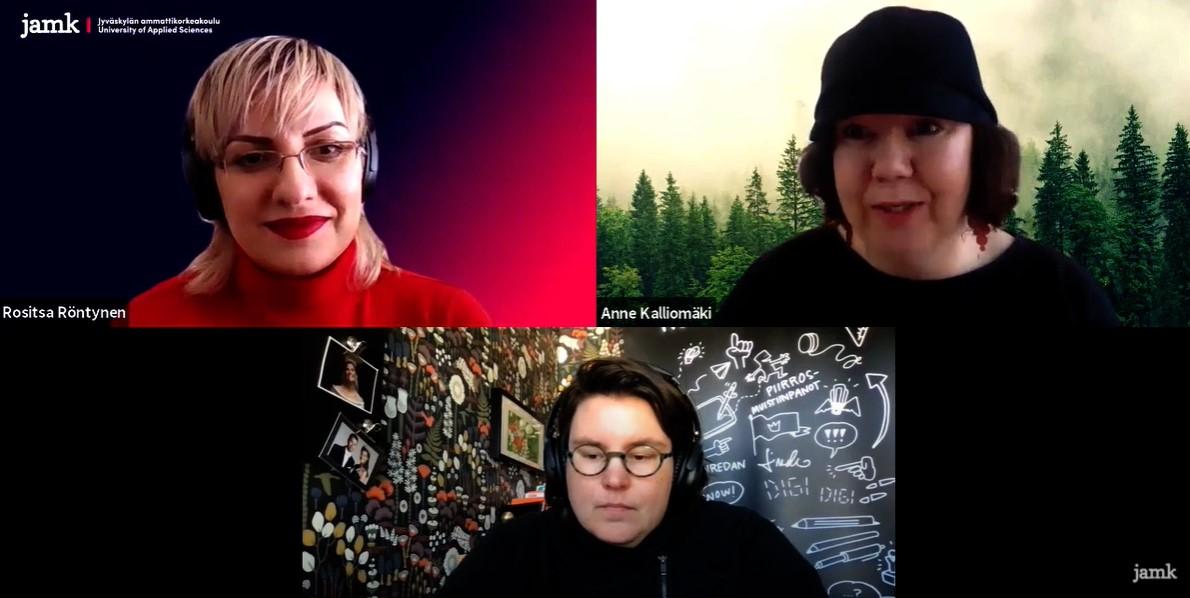 Kuva videohaastattelusta hahmoista ja tarinoista. Kuvassa Rositsa Röntynen, Anne Kalliomäki ja Linda Saukko-Rauta.