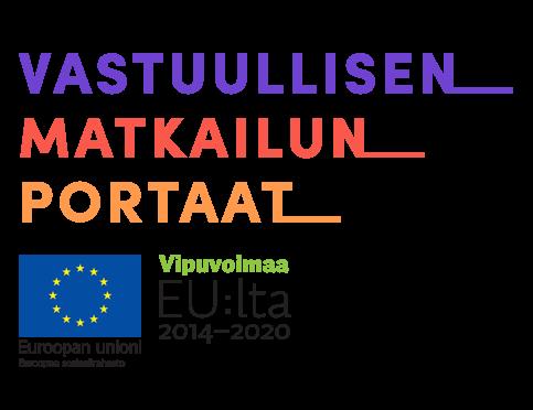 Vastuullisen matkailun portaat logo, Euroopan unionin tunnus, Euroopan sosiaalirahasto, Vipuvoimaa EU:lta 2014-2020 logo.